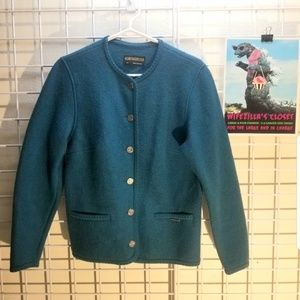 Geiger Teal Blue Button Up Wool Cardigan Sz 38/8